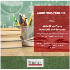 Câmara de Vereadores de Três Rios realiza debate sobre escolha de diretores da Rede Municipal de Ensino nesta quarta-feira