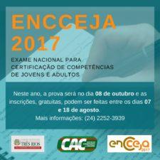 CAC Três Rios oferece auxilio para inscrição no Encceja